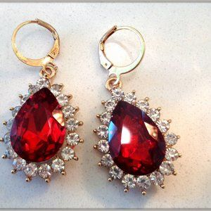 Fashion Red crystal ladys Pear Shap Drop Earring